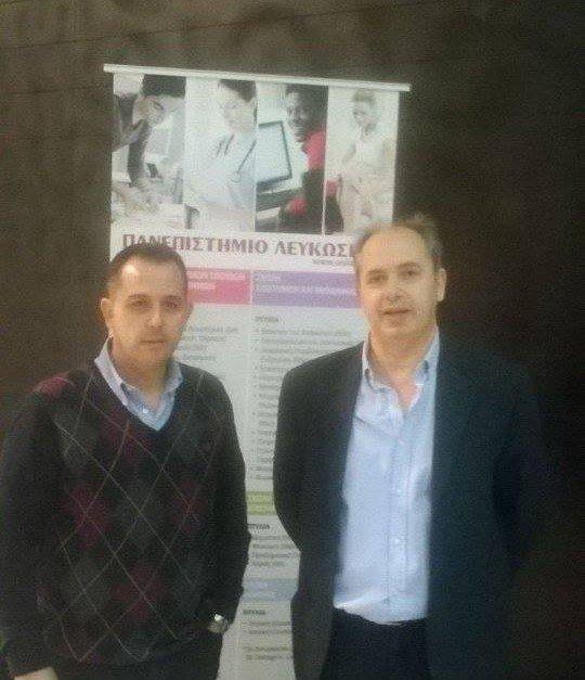 Αποστόλης Κουτρουμπέλης Υπεύθυνος Προγραμμάτων Συμβουλευτικής και Προσανατολισμού εκπρόσωπος του Πανεπιστημίου Λευκωσίας στην Ελλάδα και Χρήστος Αλεξανδρής Μαθηματικός